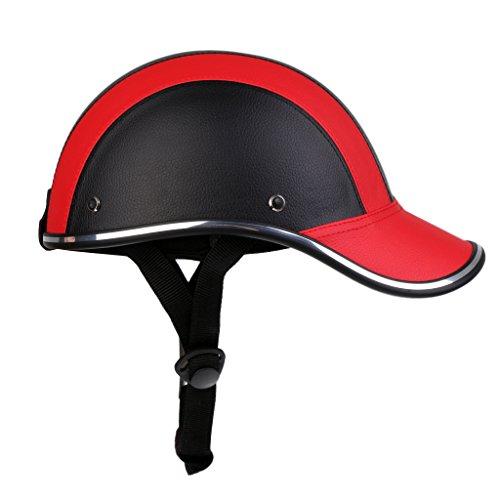 Homyl Motorradhelm Sommer Baseball Cap Schutzhelme Tropenhelm Fahrradhelm für Damen Herren - Schwarz Rot
