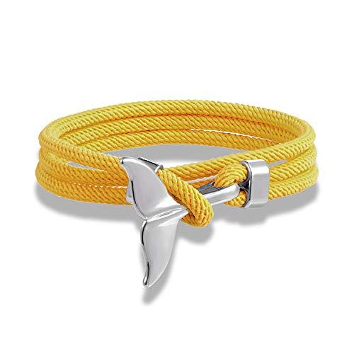 Geflochtene Seil Armbänder,Vintage Seil Armband Gelb Survival Rope Silber Walschwanz Anker Charme Klassisch Elegant Verstellbar Freundschaft Armband Handgelenk Damen Herren Schmuck Geschenk