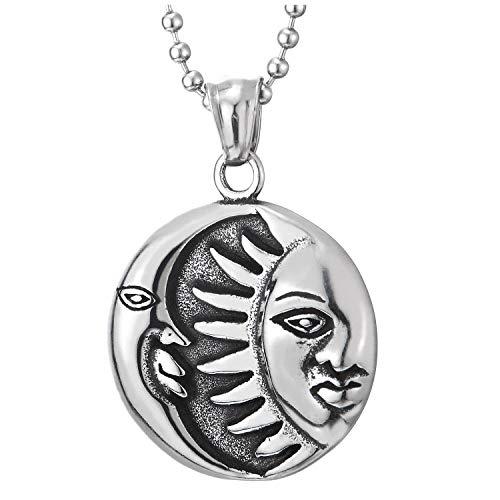 COOLSTEELANDBEYOND Vintage Sol Luna Creciente Círculo Medalla Colgante, Unisex Collar con Colgante de Hombre Mujer, Acero, Bola Cadena 60CM
