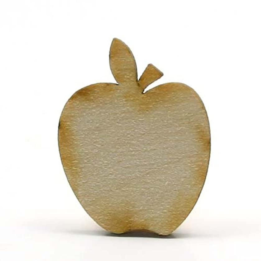 Mylittlewoodshop Package of 26 - Apple - 1 inch wide by 3/4 inches tall and 1/8 inch thick unfinished wood (LC-APPL01-26)