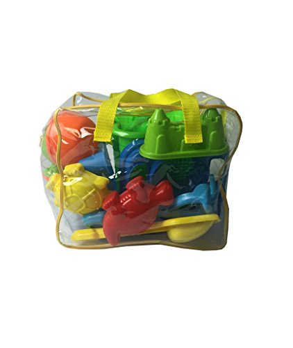 Beach Sand Toy Set in Zippered Bag for Toddlers & Kids - Includes Beach Molds, Beach Bucket and Beach Shovel Tools