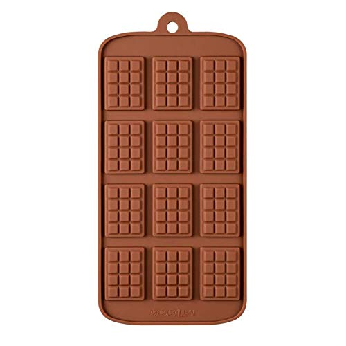 LHGXQ-Dp Homemade Waffle Chocolate Mold, Non-Stick And Reusable Diy Baking Silicone Candy Mold, Used To Make Ice Cube Candy Protein Energy Bar Dessert Tool,Brown,22.2 * 10.9 * 0.5CM