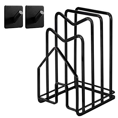 Hikinlichi Kitchen CountertopCutting Board Rack Holderwith2 Adhesive304 Stainless SteelHooks Chopping Board Organizer Stand Pots Pan Lids Rack 4.92 x 5.7 x 8.47 in. Black