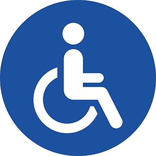 STROBO 4X Behinderten Aufkleber Rollstuhl Autoaufkleber 9,5 x 9,5cm Behindertenschild Rollstuhlfahrer WC Türaufkleber