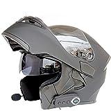 システムヘルメット ブルートゥース付き フリップアップ バイク ヘルメット メンズ 絵 ヘルメット ダブルシールド くもり止め helmet uvカット 通気 吸汗 日焼け止め オールシーズン 内装 洗濯可 おおきいサイズ おしゃれ ヘルメット マットブラック/bluetooth XXL 頭囲 63-64cm