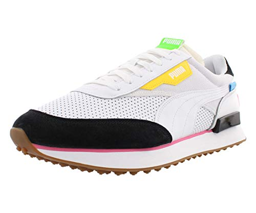 Puma Future Rider Finish Mens Shoes Size 9, Color: White/Puma Black/Fluo Pink