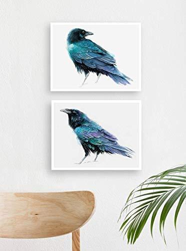 Raven Fresno Mall - Set of 2 Print watercolor Max 84% OFF