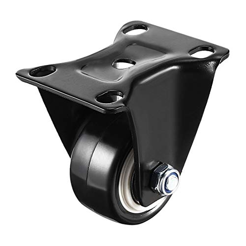 YeVhear 1 Zoll PU Rollen mit hoher Platte für Möbelwagen und Rollwagen, Schwarz