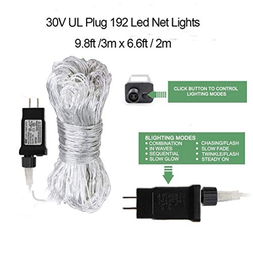 Woohaha LED Net Mesh Fairy String Decorative Lights 192 LEDs 9.8ft x 6.6ft with 30V Safe Voltage for Christmas Outdoor Wedding Garden Decorations (192LED, Multicolor)