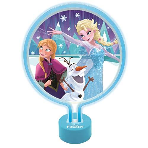 Lexibook LTP100FZ Disney Frozen Die Eiskönigin Neon Lamp mit Anna, ELSA und Olaf, Kinderzimmer Nachtlicht, Dekoratives Trendlicht für Mädchen, Blaue Farbe