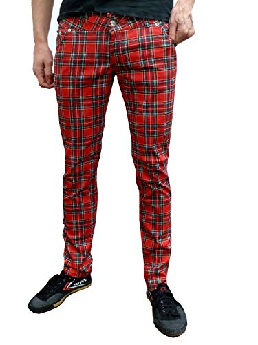 Fuzzdandy Herren oder Damen Skinny Tartan Punk Mod Abflußrohre Hose Jeans - Rot schottenkaro, Rot Schottenkaro, 30 Waist / 34 Long Leg
