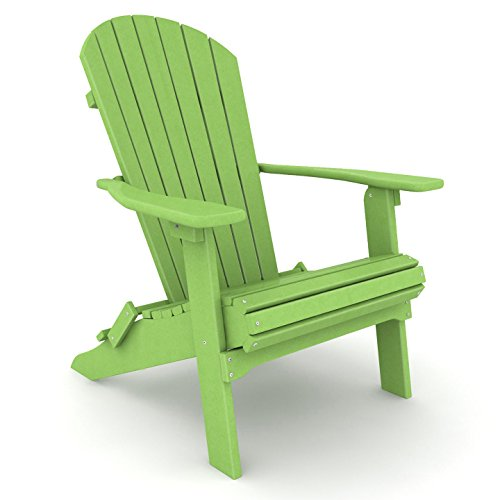 LOGGERHEAD Poly Lumber Wood Folding Adirondack Chair - Keylime