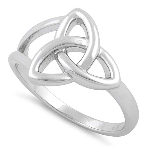 Sterling Silver High Polish Celtic Trinity Knot Ring- (Size 3-13)(7)