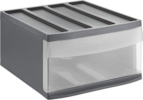 Rotho Systemix Schubladenbox 1 Schub, Kunststoff (PP) BPA-frei, anthrazit/transparent, L(38.7x34x21 cm)