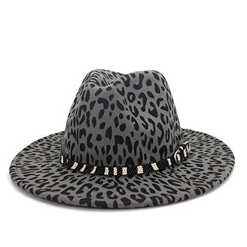 SSHZJUS Leopardo de Las señoras impresión del Sombrero de Fedora de ala Ancha Sombrero de Lana de poliéster Jazz Partido Iglesia Holiday (Color : Gris, Size : 59-60cm)