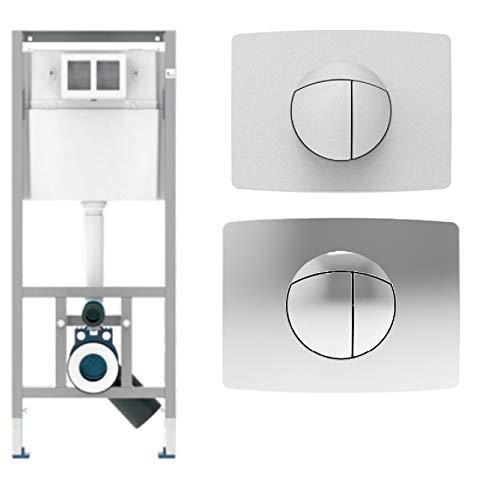 Sanit WC Vorwandelement Unterputzspülkasten Spülkasten Wand WC hängend 112cm Drückerplatte Weiss Chrom (Chrom)