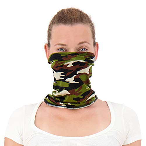 Twisted Neck Gaiter Mask for Men and Women - Cooling Neck Gaiter Made in USA - Cooling Neck Gators Face Mask for Women & Men   Camo Neck Gaiter