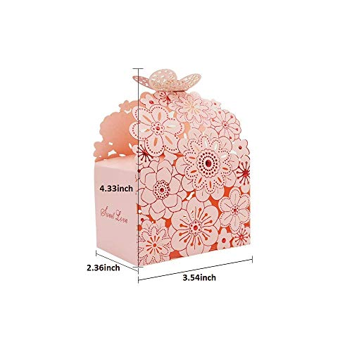 Keweis 50pcs Laser Cut Flower Butterfly Hollow Candy Boxes, Large Size Wedding Favor Party Favor Boxes for Bridal Shower Wedding Party Favor, Pink