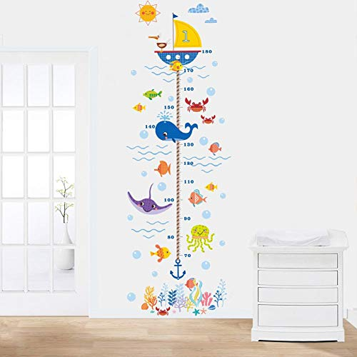 Kindergröße Wandtafel Aufkleber - DIY Unterwasserwelt Höhe Aufkleber, abnehmbare Kinder messen Wachstum Wandaufkleber für Kinderzimmer, Schlafzimmer, Wohnzimmer, TV-Hintergrund