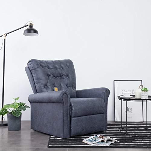 Festnight Elektrischer Massagesessel | Verstellbar Relaxsessel | Fernsehsessel mit Rückenlehne | TV Sessel | Entspannungssessel | Wohnzimmersessel | Grau Wildleder-Optik 78 x 94 x 91 cm