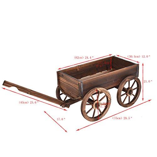 Wood Wagon Flower Planter Pot Stand W/Wheels Home Garden Outdoor Decor New