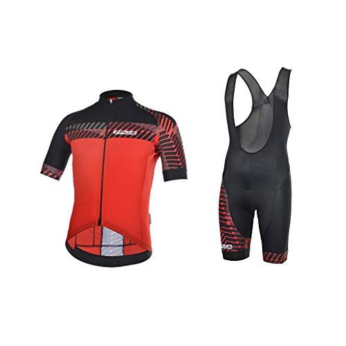 Threeface Completo Estivo Ciclismo Fancy Made in Italy Maglia + Salopette (Rosso, L)