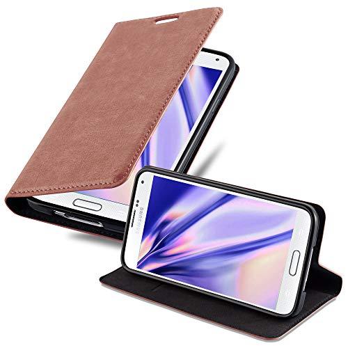 Cadorabo Hülle für Samsung Galaxy S5 Mini / S5 Mini DUOS - Hülle in Cappuccino BRAUN – Handyhülle mit Magnet, Standfunktion & Kartenfach - Hülle Cover Schutzhülle Etui Tasche Book Klapp Style