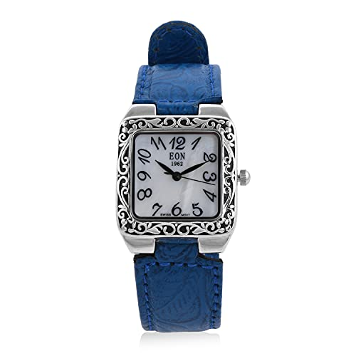 Shop LC EON 1962 Swiss Movement 925 Sterling Silver Scratch Uniue Antique Wrist Watch with Blue Leather Band