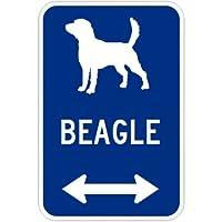 BEAGLE マグネットサイン ブルー:ビーグル(小) シルエットイラスト&矢印 英語標識デザイン Water Resistant&UV Coat U.S.