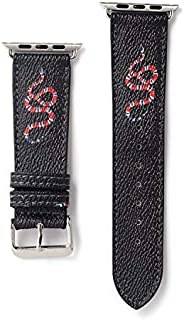 42/44MM Compatible Apple Watch Straps, Luxury Fashion Monogram PU Leather Classic Wrist Bands for Women and Men, Replacement for Apple Watch Series 4 3 2 1 42mm (fit for 44mm) (Black Snake)