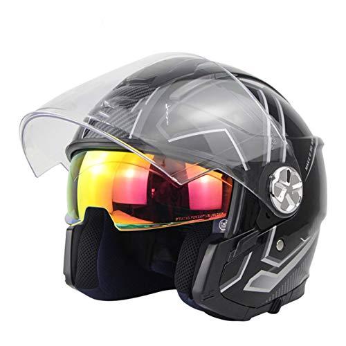 DaMuZ Retro Open Face Helmet,Adult Vintage Jet Motorcycle Helmet with Visor Men Women Motorbike Crash Helmet DOT Approved for ATV Moped Scooter Rider Adventure Bike Riding Cruiser