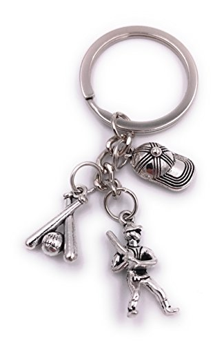 H-Customs Baseball Baseballspieler Basecap Schlüsselanhänger Anhänger Silber aus Metall