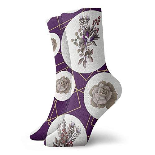 wwoman Novedad Divertido Crazy Crew Sock Eucalyptus Magnolia Impreso Sport Athletic Calcetines 30cm de largo Calcetines personalizados de regalo