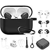 Airpods Pro Case, 12 in 1 Silicone Airpod Pro Accessories kit Set, Apple Airpods 3 Charging Case Cover Skin with Ear Hook/Earbuds Case/Watch Band Holder/Brush/Keychain/Eartips (Black)