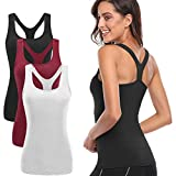 TELALEO Tank Tops for Women, Womens V-Shape Workout Tank Tops Clothes for Women Yoga Basic Running 3 Pack White/Black/Red Medium