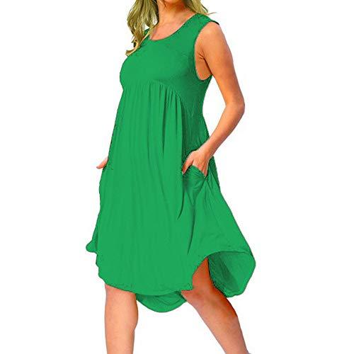 Morton PegfwaS Summer New Damen Einfarbige Lose Taschen Plissiert Mittellanges Westenkleid