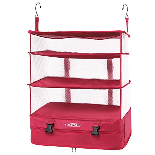 TABITORA Portable Hanging Travel Shelves Bag Packing Cube Organizer Suitcase Storage Large Capacity (Rose,L)