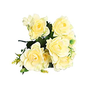 Artificial Flower for Party Home Decoration-1Pc Artificial Gardenia Decorative Lifelike Faux Silk Flower DIY Fake Floral Simulation for Home – Yellow