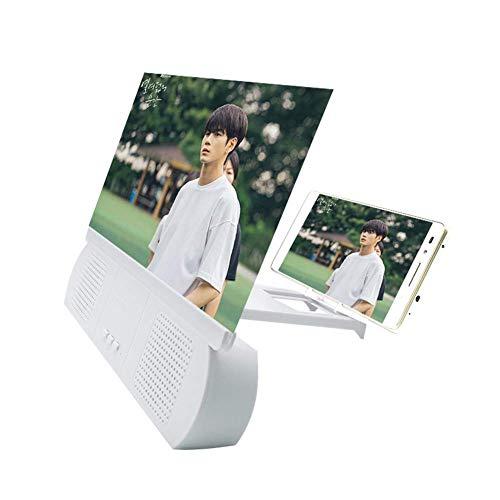 Lupa de pantalla de teléfono universal de 10 pulgadas, con amplificador de altavoz Bluetooth Teléfono móvil de alta definición Protección ocular 3D Lupa Soporte de escritorio Adecuado para teléfono in