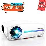 Vidéoprojecteur, WiMiUS 6500 Lumens Full HD 1920x1080P Natif Vidéo Projecteur Supporte 4K Son Dolby HiFi SoundBar Rétroprojecteur, Réglage Digital 4D, avec VGA HDMI AV USB pour Home Cinéma PS4 PPT