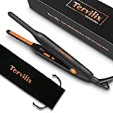 Terviiix Small Flat Iron for Short Hair, Temperature Adjustable Pencil Flat Iron Fast Heat Up, 3/10 Inch Beard Straightening Iron Dual Voltage with Tourmaline Ceramic Plates, Auto Shut Off