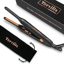 Terviiix Small Flat Iron for Short Hair, Temperature Adjustable Pencil Flat Iron Fast Heat Up, 3/10 Inch Beard Straightening Iron Dual Voltage with Tourmaline Ceramic Plates, Auto Shut Off