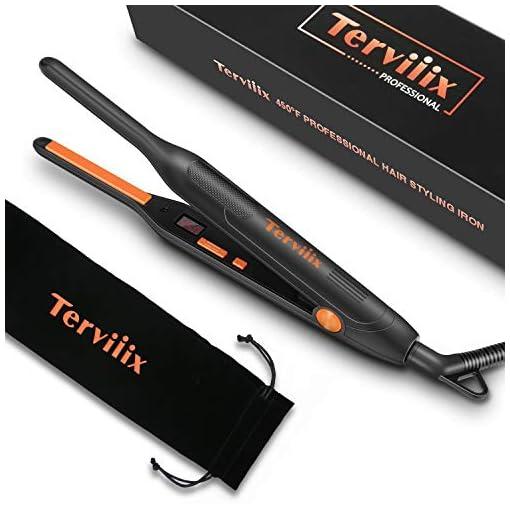 - 41W1aIL6omL - Terviiix Small Flat Iron for Short Hair, Temperature Adjustable Mini Hair Straightener Fast Heat Up, 3/10 Inch Beard Straightening Iron Dual Voltage with Tourmaline Ceramic Plates, Auto Shut Off