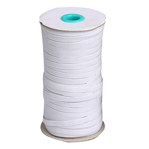 TOP-VIGOR Elastic Bands for Sewing 80/100/160 Yards- 1/8&3/8& 1/4 Elastic Cord-Heavy Stretch Knit Braided Elastic for Jewellery Making, Beading (White-1/4'(6mm)-100Yards, 1/4'(6mm))