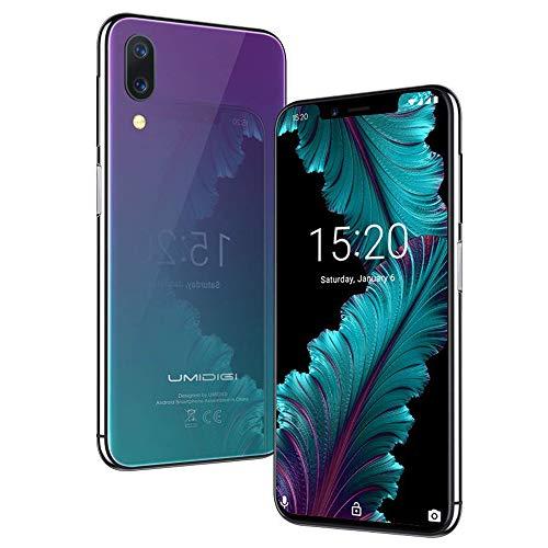 UMIDIGI Flaggschiff One Handy, Smartphone ohne Vertrag Android 8.1 Oreo mit 5.9 Zoll Notch-Display, 4GB + 32GB(256GB erweiterbar), Kameras(16MP+12MP+5MP), Seitlicher Fingerabdrucksensor-Twilight
