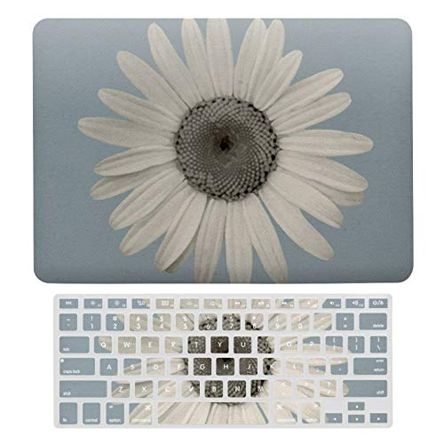 MacBook Air 13 Inch Case A1466, A1369, Hard Shell & Keyboard Case Cover for Apple Mac Air 13, Daisy Pop of Color Blue Grey Laptop Protective Shell Set