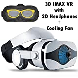 VR Headset Virtual Reality Goggle w/ Headphone & Fan for 3D Movie Game, VR Glasses Compatible for iPhone Xs MAX XR X 8 7 Plus Samsung Galaxy S9 S8 S7 Edge Note 5 4 3 LG G7 G6 G5, 360 VR Viewer White