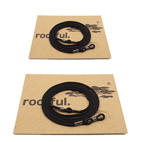 rootful.® URBAN Classic Brillenband 2er Pack (schwarz) für Sonnenbrille und Lesebrille - Brillenkette - Brillenkordel (2Xschwarz)