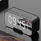 Aobay Reloj de Alarma Bluetooth LED Espejo Digital Alarma Digital Radio FM Radio Inalámbrico Bluetooth Altavoz Suplemento Suplemento Subwoofer (Color : Negro)