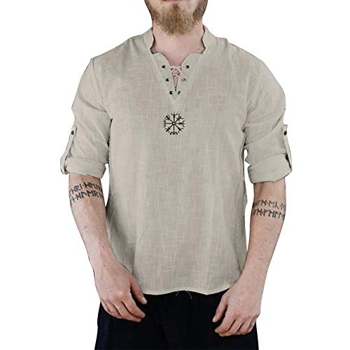 Derrick Aled(k) zhuke Men T-Shirt Linen Summer Top Long Sleeves Casual Sport Printed Lace Blouse Men's Cotton Embroidered Stand Collar Shirt Creamy-White